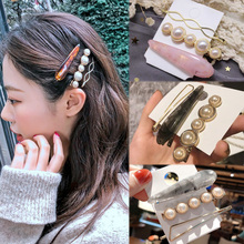 Sale 3PC/Set Vintage marble Hairpins Imitiation Pearl Barrettes Hair Clips Simple Metal Ball Women Accessories