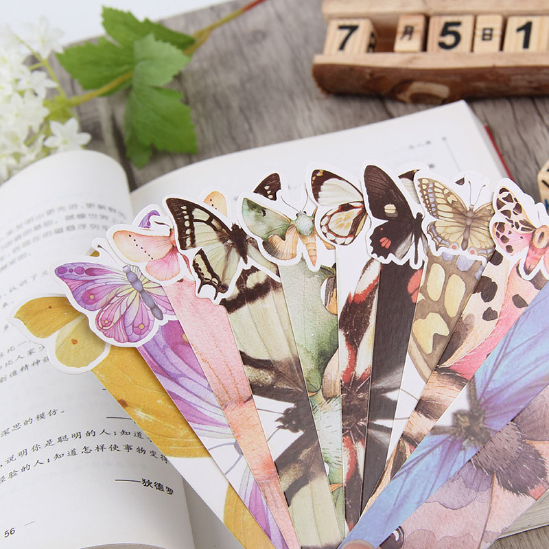 30Pcs/pack(1 Bag) Cute Butterfly Book Marks Novelty Items Kawaii Paper Bookmarks For Books Girl Gifts School Office Supplies