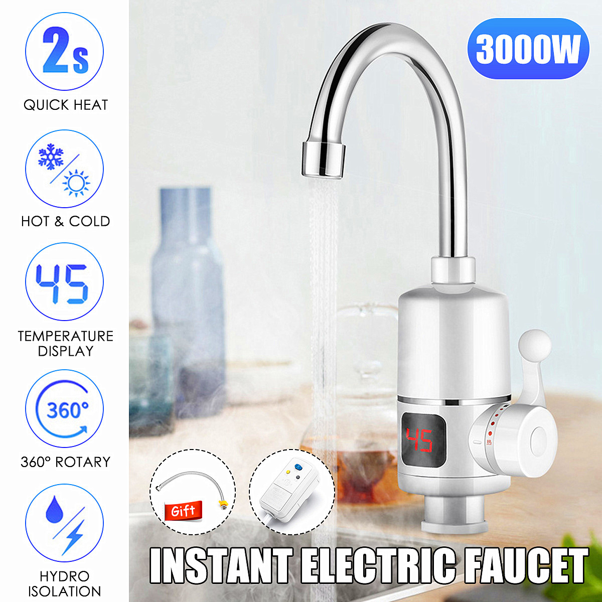 Kitchen Tankless Faucet Instant Electric Hot Water Tap Fast Water Heater Sink 3KW Temperature Display With Leakage ProtectionsKitchen Tankless Faucet Instant Electric Hot Water Tap Fast Water Heater Sink 3KW Temperature Display With Leakage Protections