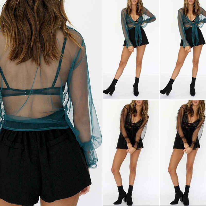 Moda Sexy kobiety dziewczyny Mesh Sheer Crop Top z długim rękawem przezroczysty T Shirt Tee topy