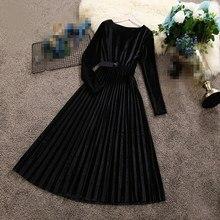 New Women Long Sleeve Sashes A-line Velvet Dress Autumn Winter Round Neck Pleated Elegant Waist Empire Dresses