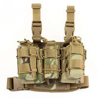 TTGTACTICAL Tactical Drop Leg Rig with Detachable Double Stacker Mag Pouch & 1 Single Mag Pouch, Molle Drop Leg Platform