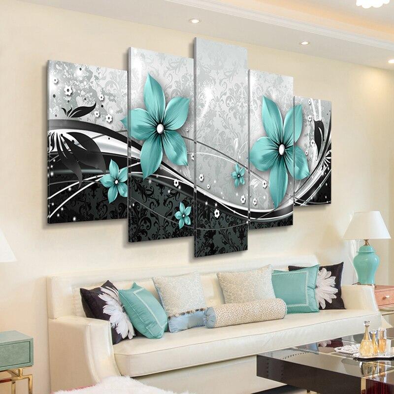 Pintura moderna en lienzo, 5 piezas, hermosos carteles y impresiones de flores azules, cuadros artísticos de pared sin marco para sala de estar