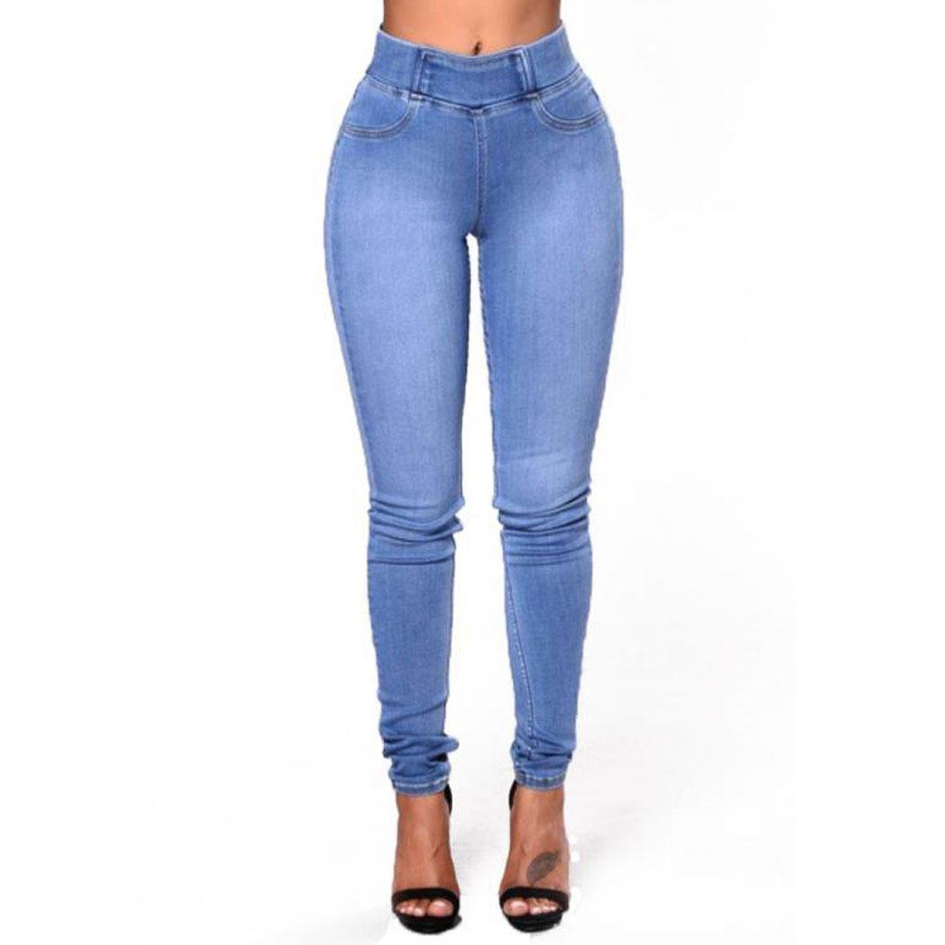Women Casual Solid Skinny   Jean   Pants Slim Standard High Waist Mid Pocket Spring/Autumn Long Pencil Pants
