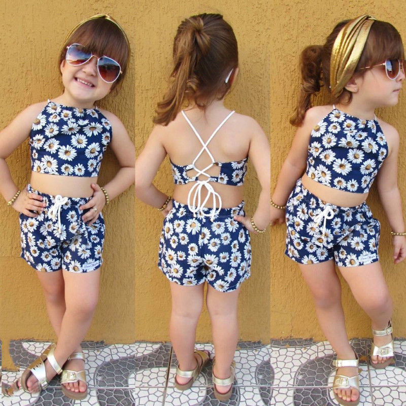 Pudcoco Girl Set 0-24M Fashion Newborn Kids Baby Girls Flower Crop Vest Top Short Pants Outfits Clothes