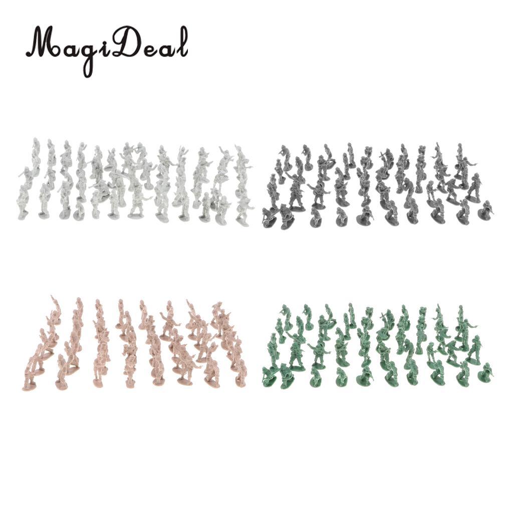 Set Of 400pcs  4 Colors Plastic 2cm Toy Soldiers Figurine Army Sand Scene Model Plaset
