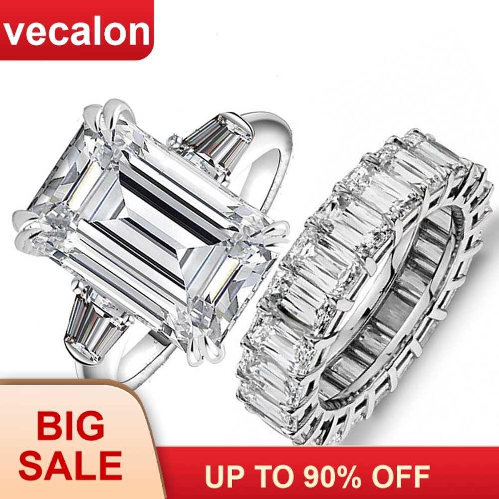 Vecalon роскошные кольца для помолвки принцесса огранка AAAAA Cz камень 925 пробы серебро обручальное кольцо кольца для мужчин и женщин