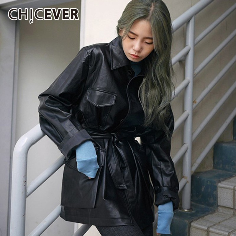 CHICEVER Autumn Winter PU   Leather   Jackets For Women Lapel Long Sleeve High Waist Lace Up Jacket Female Fashion Streetwear Tide