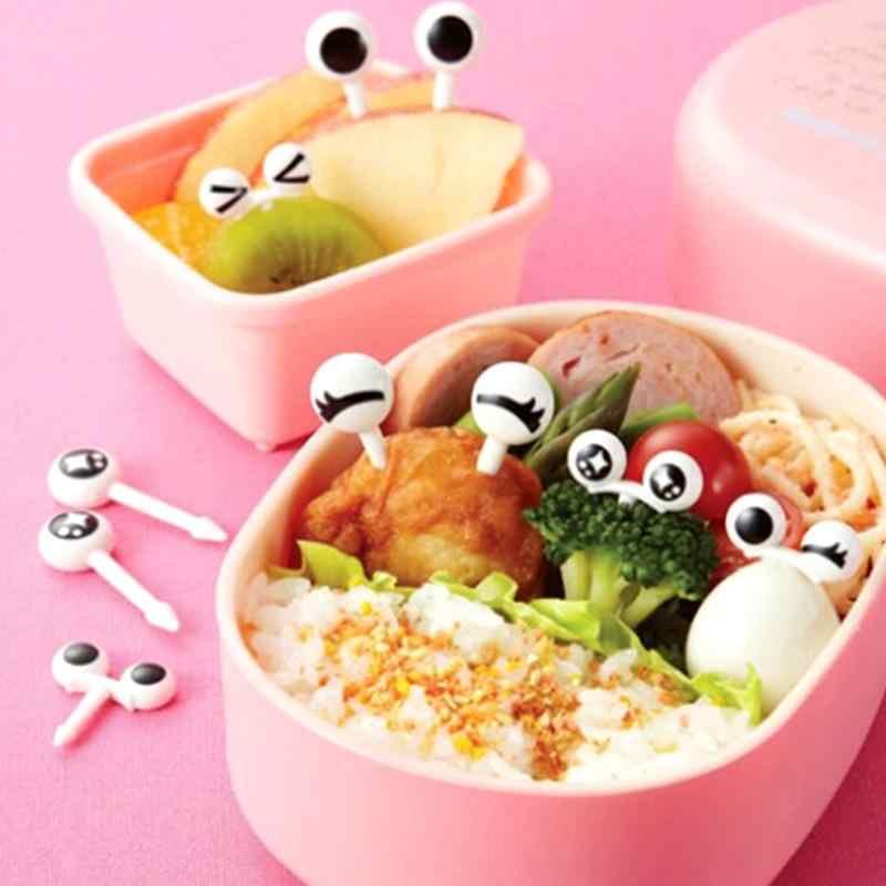 10 pçs/set Mini Olho Garfos de Frutas Forks Toothpick Fruit Crianças Dos Desenhos Animados de Plástico Caixa de Almoço Bento Decoração Acessórios Deserto St