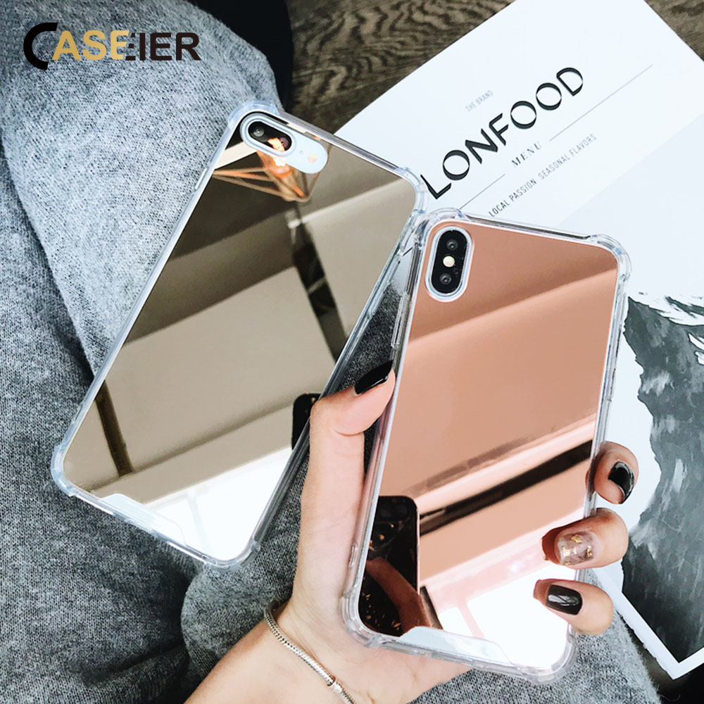 CASEIER Fashion Mirror <font><b>Case</b></font> For <font><b>iPhone</b></font> 6 7 8 6s X Plus 5 5S SE 6 <font><b>XR</b></font> XS MAX <font><b>Glitter</b></font> Mirror Back <font><b>Cases</b></font> For <font><b>iPhone</b></font> Soft Cover Funda image