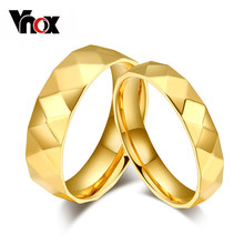 Vnox Gold-color Engagement Rings for Women Men Special Rhombus Style Wedding Rings Jewelry 2Pieces/Lot(China)