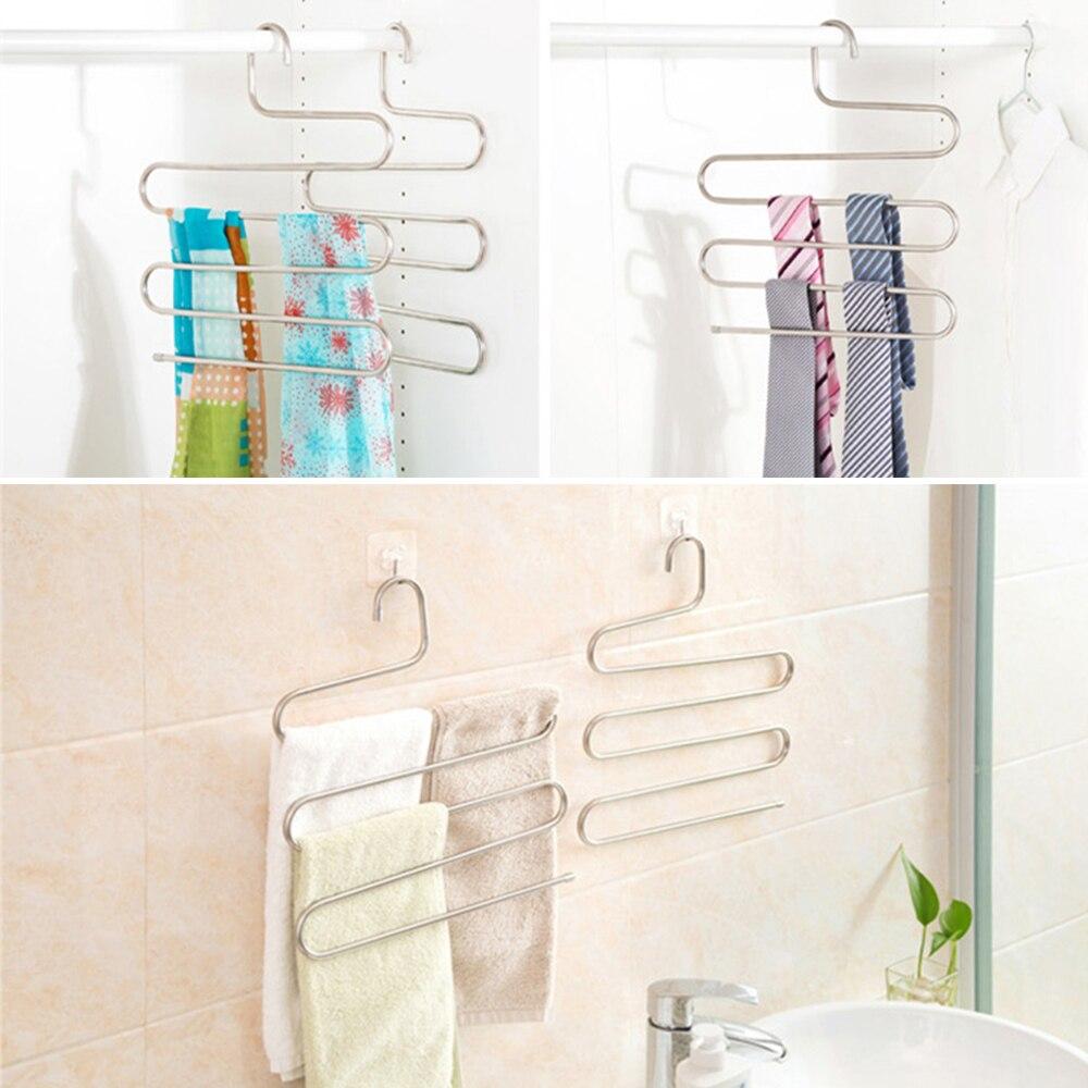 Trousers Hanger Magic pants Clothes Closet Belt Holder Rack bathroom room kitchen shelf organizer and storage accessories47
