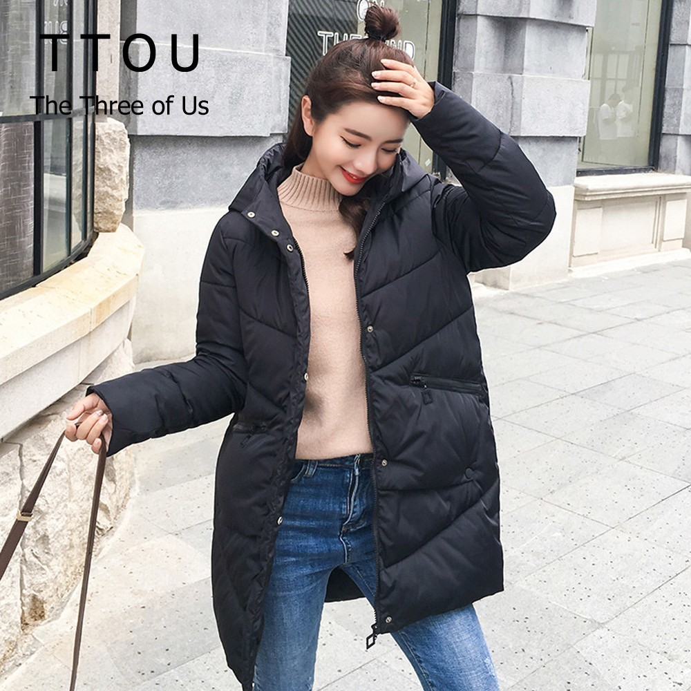 TTOU Parka Women Winter Jacket Fashion Hooded Coats Female Parkas Thick Cotton Padded Winter Female Coats