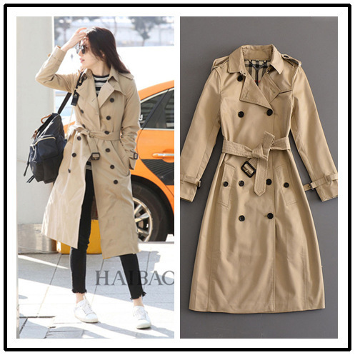 DEAT 2019 Autumn England Style Slim Beige Royal Blue Long Double Breasted Button Windbreaker Slim Coat Women With Sashes ME015