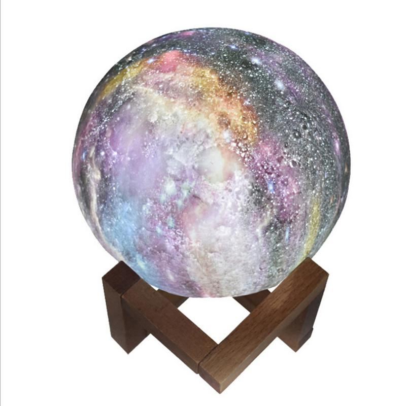 Led Moon Light 3D Starry Sky Painted Moon Globe Lamp 3D Glowing Moon Lamp Luna Moon Lamp Night Light for Bedroom Decoration