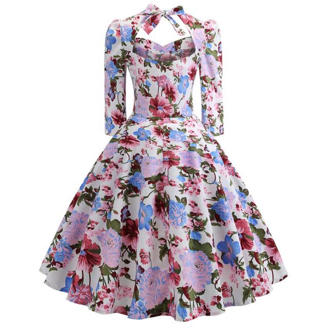 Kenancy Women'S Vintage Dress Sexy Sweetheart Neck Half Sleeve Swing Floral Print Bowknot Dresses Party Rockabilly Retro Dress