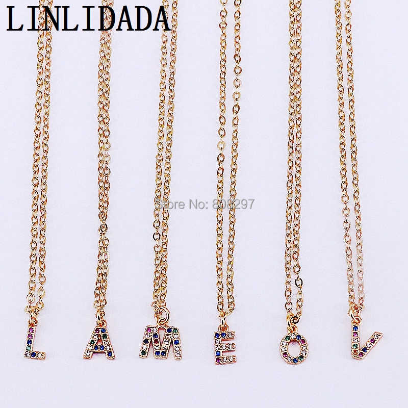 20Pcs Wholesale Fashion Gold Color Micro Pave Colorful Cubic Zirconia A-Z letter Pendants Charms Necklaces