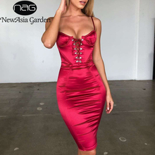 NewAsia Chic Lace Up Sexy Dress Women 2019 Summer Push Padded Bra Satin Midi Ladies Clubwear Party Bodycon Red