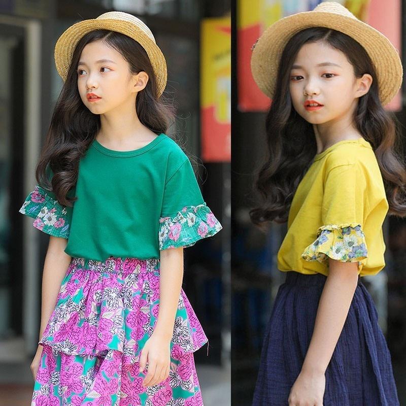 Floral Sleeve Patchwork Girls Tops Children T Shirts Short Sleeve Tops Cotton Yellow Green Tshirt Kids Summer 2019 New Clothing