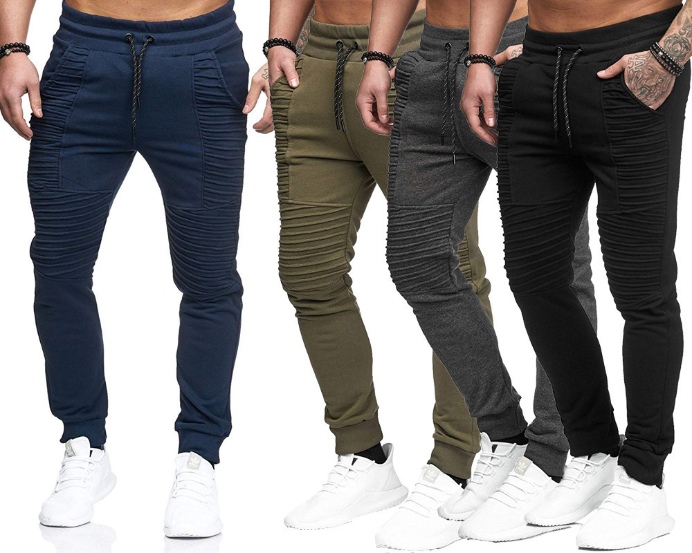 Men's Causal Pants Sportswear Drawstring Joggers Bodybuilding Trousers Man Jogging Sweatpants Pleated Stripe Pant High Quality