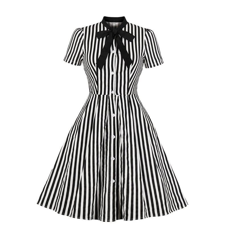 2019 Vintage Stripe Midi Dress Women Summer 1950s Bow Collar Elegant Office Casual Stylish Goth Ladies Retro Rockabilly Dresses