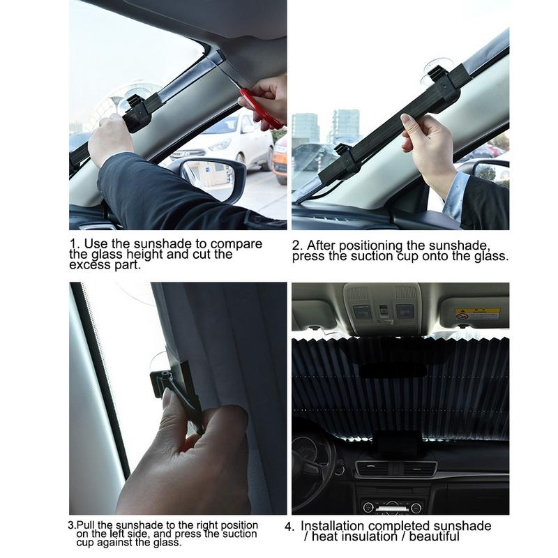 Car Automatic Telescopic Aluminum Alloy Folding Sunscreen Insulation Sun Block Windshield Sun Shade Portable Auto Accessories in Windshield Sunshades from Automobiles Motorcycles