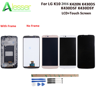 Alesserr For LG K10 2016 LCD K420N K430DS K430DSF K430DSY Display And Touch Screen With Frame +Tools For LG K10 Replacement