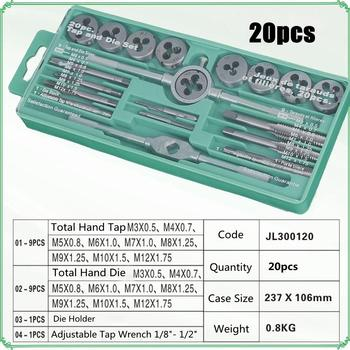 12/20 Pcs M6-M12/M3-M12 Metric Tap With 5pcs Die And Adjustable Tap Wrench Nut Bolt Alloy Metal Hand Tools