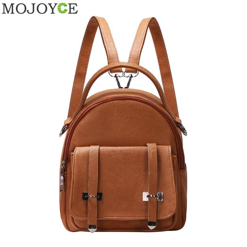 9823113952e4 Мода Wobag рюкзаки женщина 2018 мини из искусственной кожи рюкзак женский  сплошной цвет Bookbag подарок Backbag