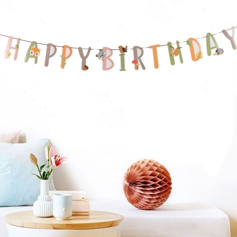 Jungle Party Animal Decorations 1pc Happy Birthday Banner For Birthday Party Decorations Kids Spring Summer Birthday Supplies in Party DIY Decorations from Home Garden