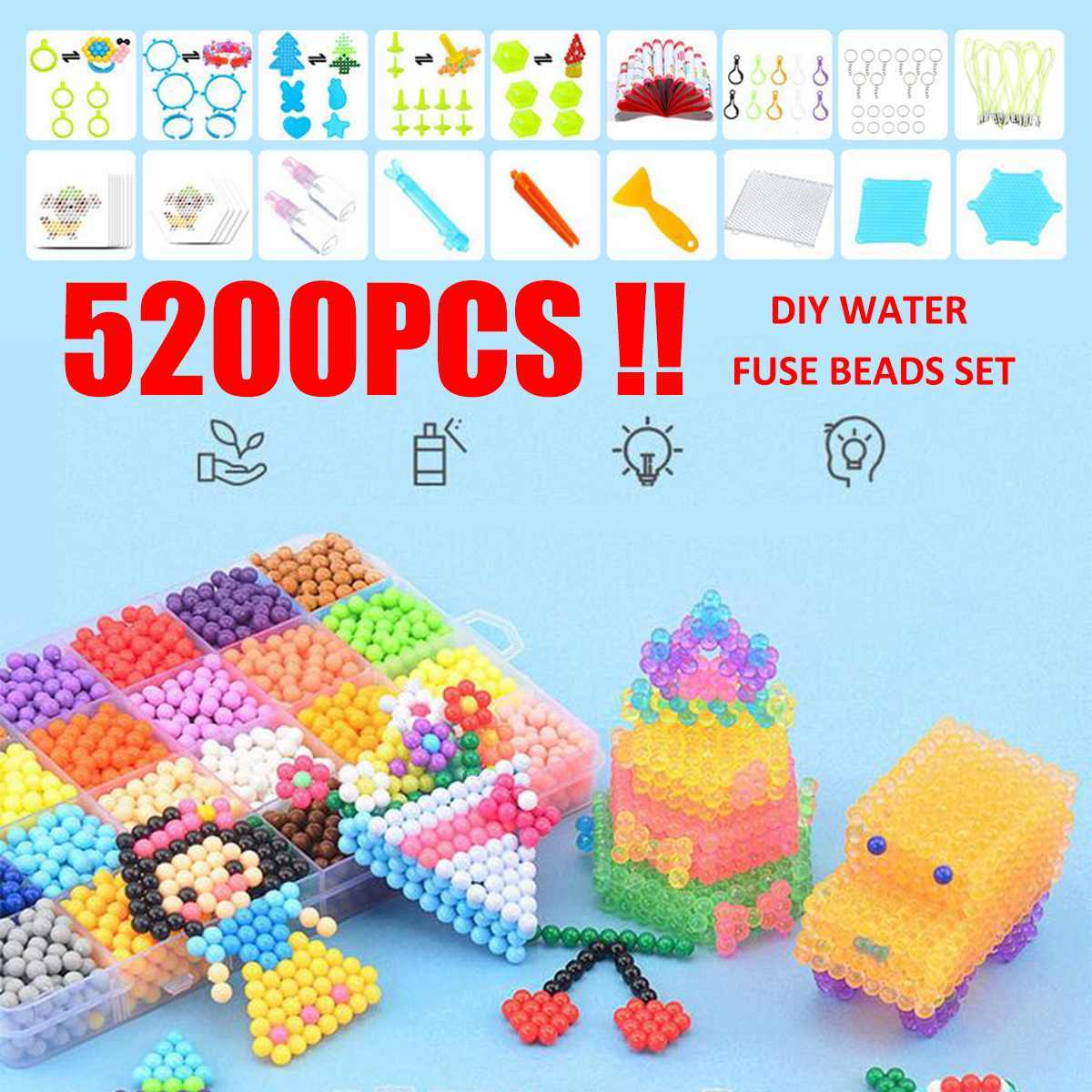 8000pcs Magic Puzzle Toys Bead Set DIY Craft Animal Handmade Sticky Beads Educational Learning Toys Kids Good Gifts