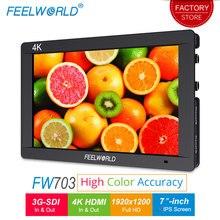Feelworld FW703 moniteur de champ de caméra HDMI 7 pouces 3G SDI 4 K Full HD 1920×1200 IPS écran LCD pour stabilisateur de caméras DSLR