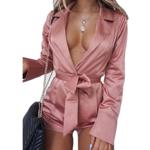 Plus size 2XL Fashion Playsuits rompers Solid Satin Slim Outfits Sexy Deep V long sleeve Bandage