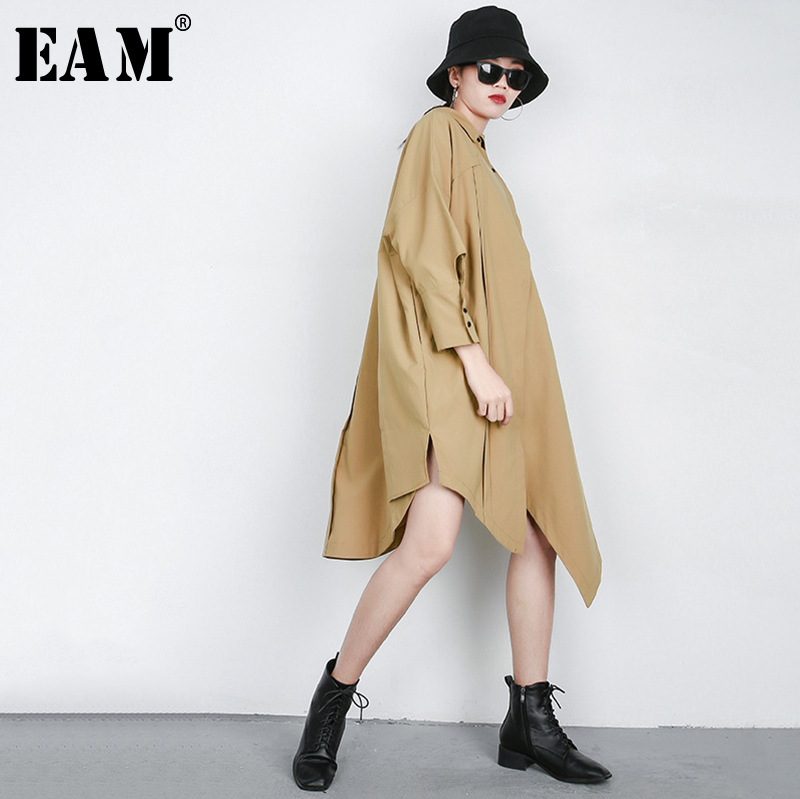 [EAM] 2019 New Spring Summer Lapel Long Sleeve Black Button Irregular Hem Big Size Windbreaker Women   Trench   Fashion Tide JQ629
