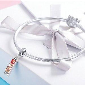 Image 3 - MOWIMO Japan Red Koinobori Charm Bead Fit Original Silver Bracelets Bangles Pendant 925 Sterling Silver Jewelry Making BKC1085