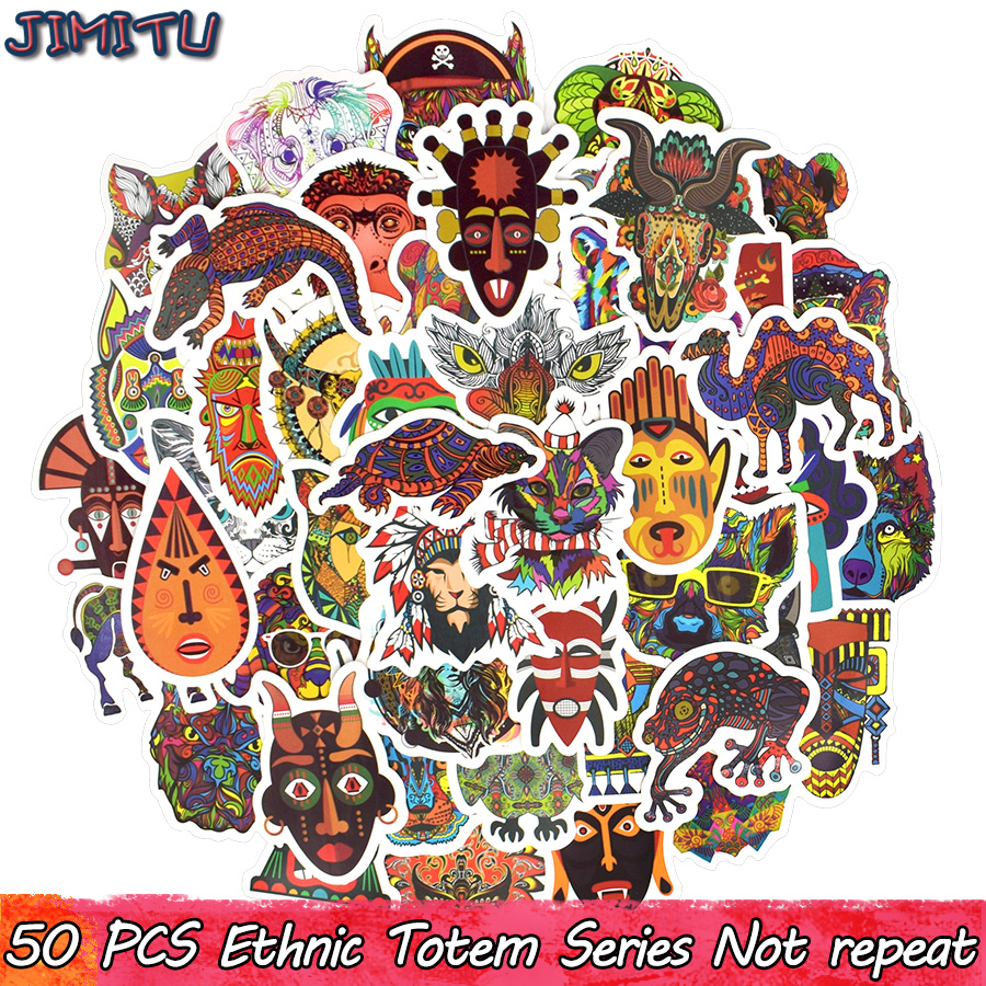 50 PCS Ethnic Totem Sticker Animal Mandala Bohemian Tribal Masks Tattoo Decor Stickers To DIY Luggage Laptop Travel Case Guitar