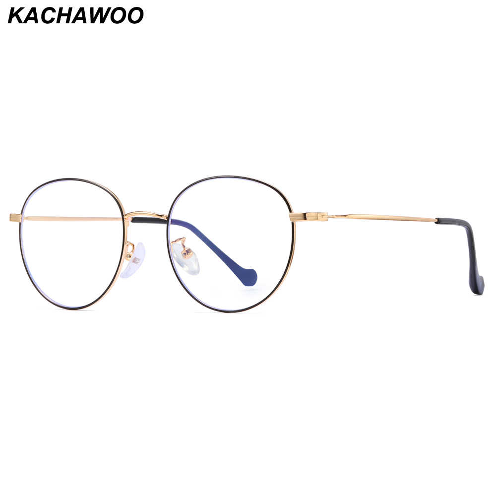 c7d230d9cf7 Kachawoo Anti Blue Light Glasses Men Optical Retro Round Eyeglasses For  Women Thin Metal Frame Birthday