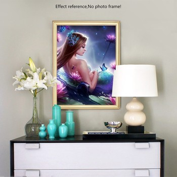 HUACAN Diamond Embroidery Full Display Portrait Full Square Picture Rhinestones 5D DIY Diamond Painting Mermaid
