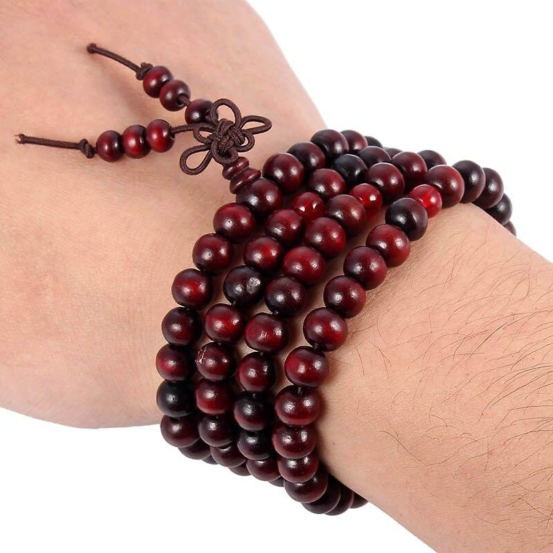 108 Beads 8mm Natural Sandalwood Buddhist Buddha Wood Prayer Bead Bracelet For Prayer Malas Unisex Bracelet Bangle Jewelry Gifts