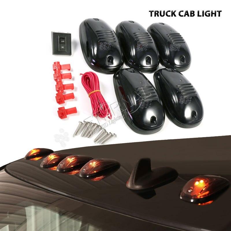 Livraison gratuite 5 pièces/ensemble ambre LED feux de cabine en cours d'exécution marqueur de toit voiture style pour auto accessoires voiture 4x4 hors route camion signal lampe