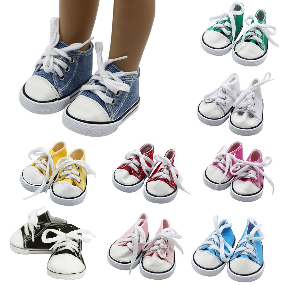 New Style Canvas Shoes Doll Fashion Sneakers 18 Inch Doll Shoelace Cloth Mini Toy Shoes High Quality Fabric Leather Toe Cap