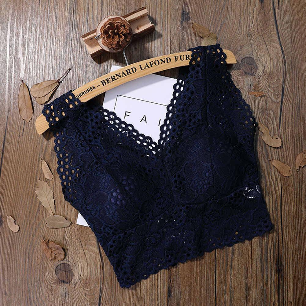 c346c6675a Push Up Padded Bralette Women Lace Crocket Crop Top Strappy Bustier Vest  Top Femme Summer Short