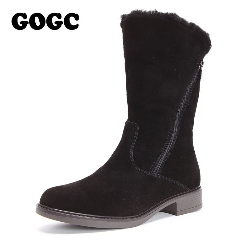 GOGC Genuine Leather Women Winter High Boots Warm Heel Woman Winter Shoes New Mid Calf Boots Women's Boots for Winter G9818