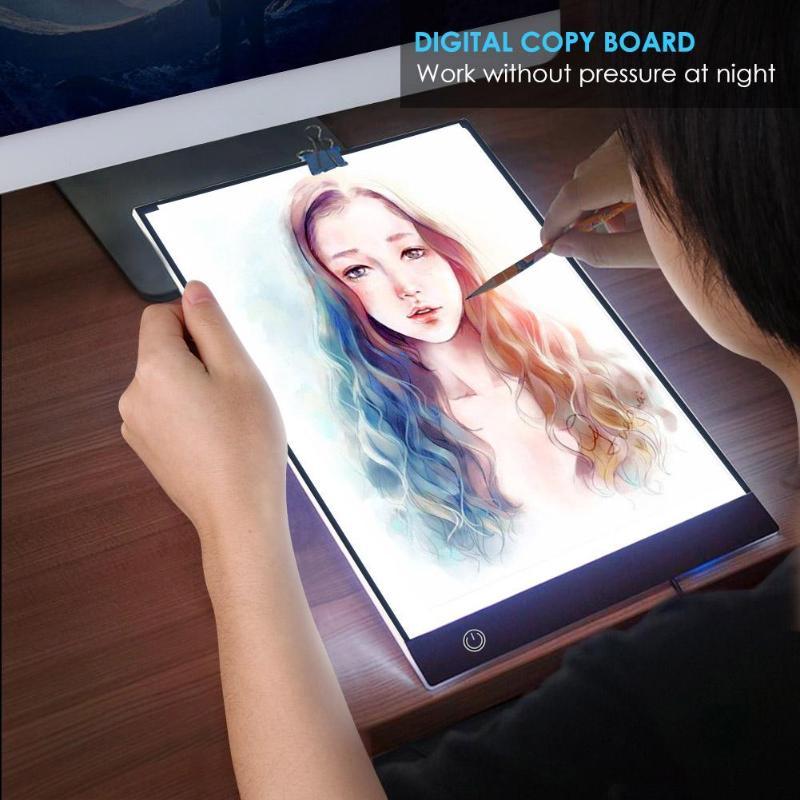 >A4 Digital Graphics Tablet LED Drawing Tablet Thin Art Stencil Drawing Board Light Box Tracing <font><b>Copy</b></font> Pad Stepless Dimming Light