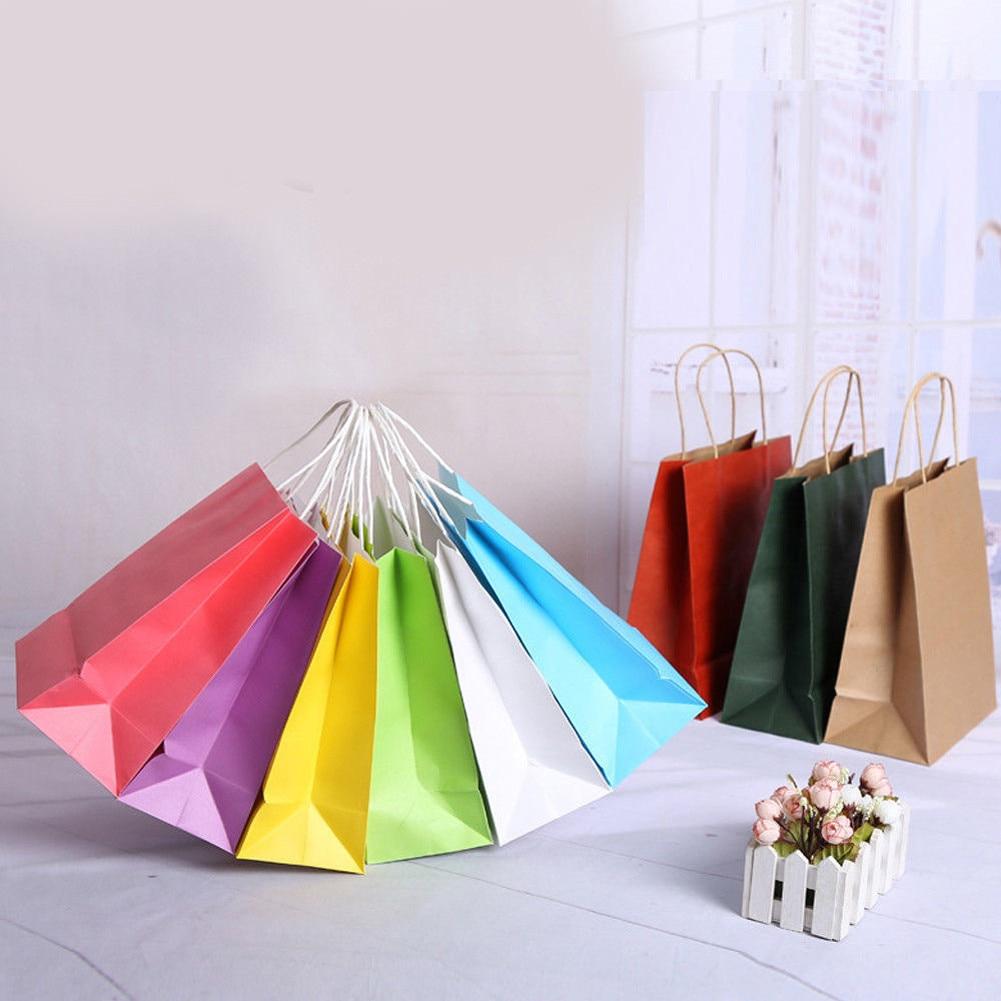 10 Farben Kraft Partei Papier Träger Tasche Hochzeit Behandeln Mit Griff Geschenk Loot Taschen Kunden Zuerst