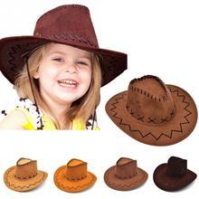 Повседневная ковбойская шляпа в ковбойском стиле; детская шляпа в ковбойском стиле из искусственной замши с широкими полями для отдыха; детская шляпа на Хэллоуин;