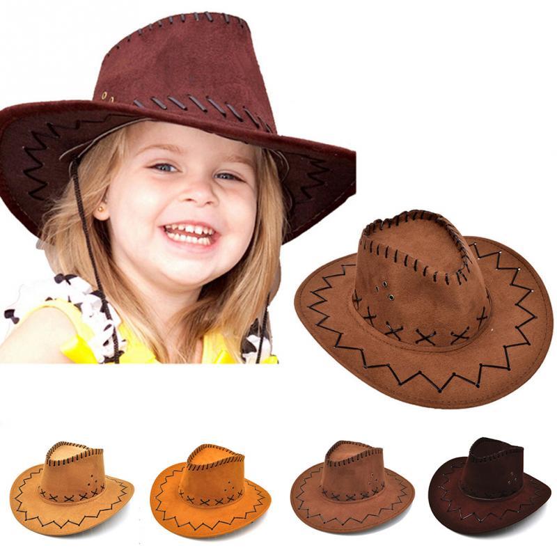 Casual Western Cowboy Hat Sun Hat Cowgirls Children Hat Artificial Suede Wide Brim Leisure Halloween Children Hat 2019