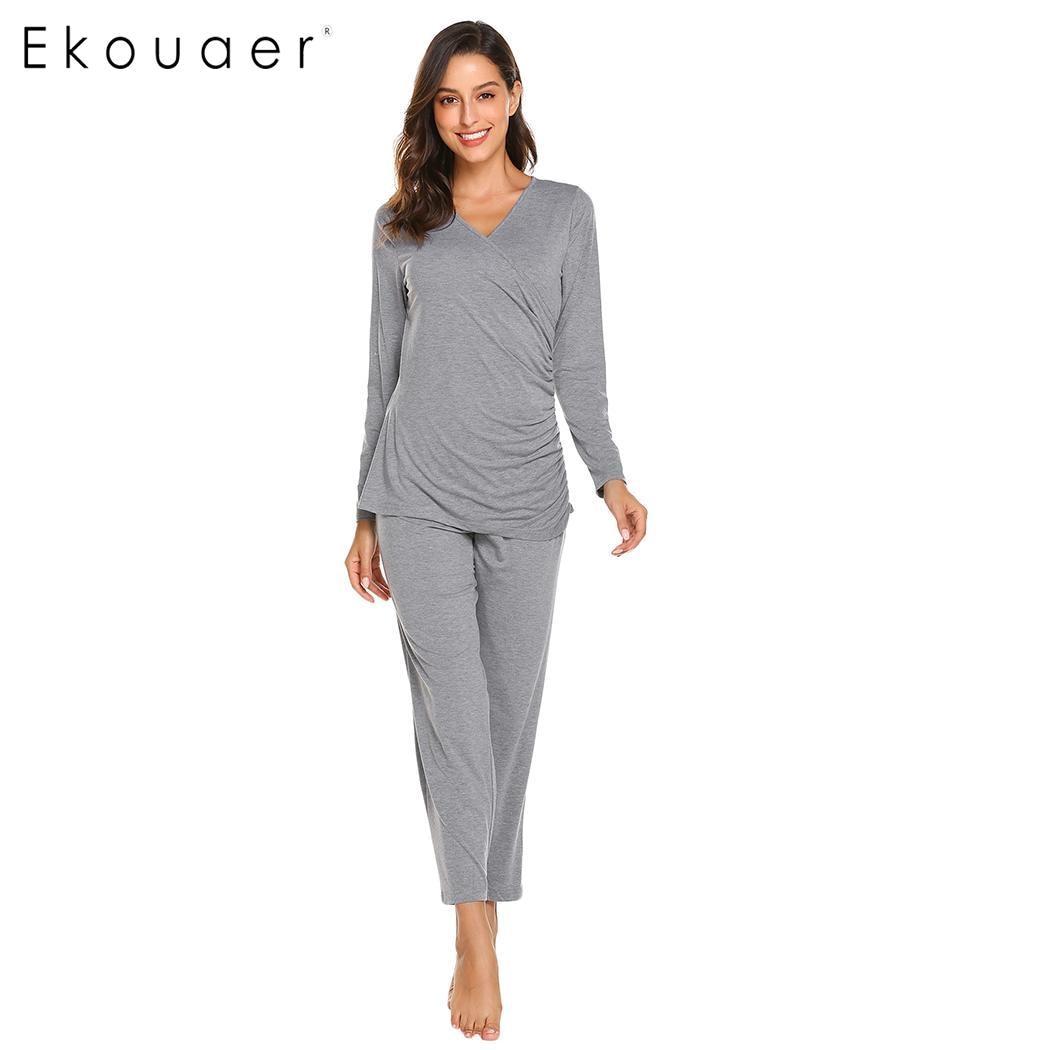 Ekouaer Women   Pajamas     Set   Nightwear Pyjamas Long Sleeve Cotton Nursing Loose Maternity   Pajama   Sleepwear   Set   Female Homewear