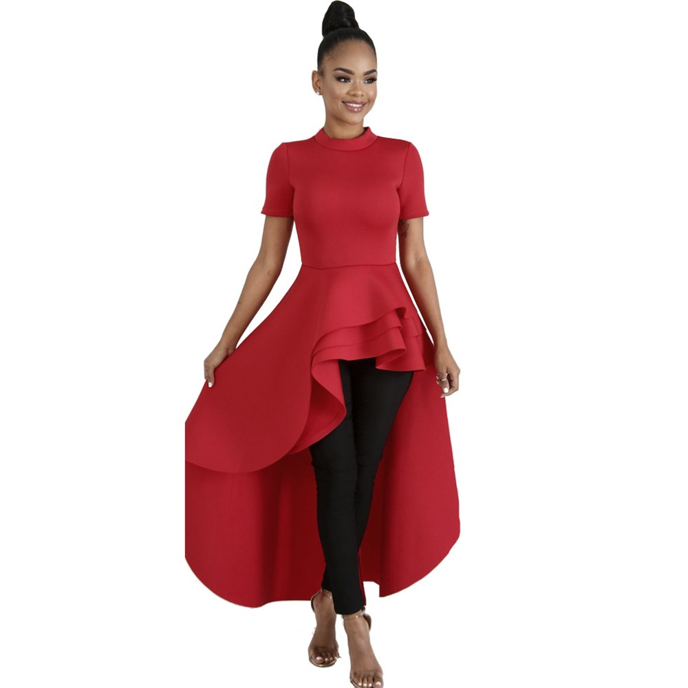 Women Blouse Shirt Plus Size Ruffle Tails Slim Summer Top Asymmetric Falbala Ladies Long Peplum Party Blouse
