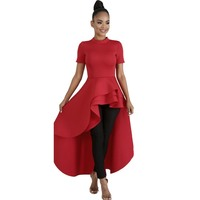 Women Blouse Shirt Plus Size Ruffle Tails Slim Summer Top Asymmetric Falbala Ladies Long Peplum Party Blouse
